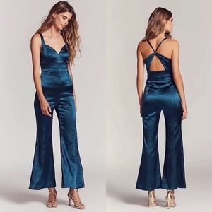 Free People Satin Jumpsuit Open Back X Cross Flare